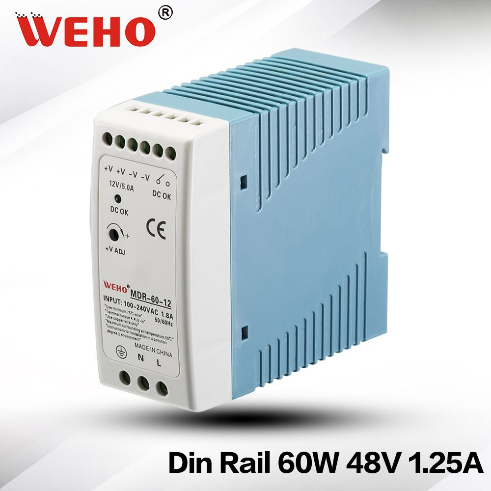Mdr 60 48led Driver 60w 48v 125a Single Output Industrial Din Rail 24v Power Supply 18a