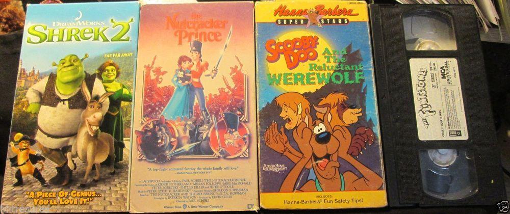 Lot 4 Vhs Kids Movies Shrek 2 The Flintstones Scooby Doo Nutcracker Prince Books Storybook Kids Movies