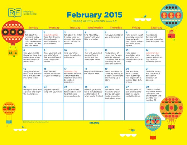 A reading activity calendar from Reading Is Fundamental website - activity calendar