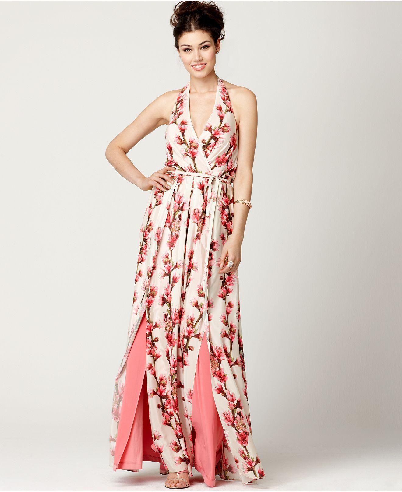 Jessica Simpson Dress, Sleeveless Belted Floral Print Halter Maxi ...