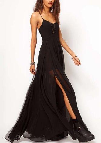 Tiered spaghetti strap maxi dresses