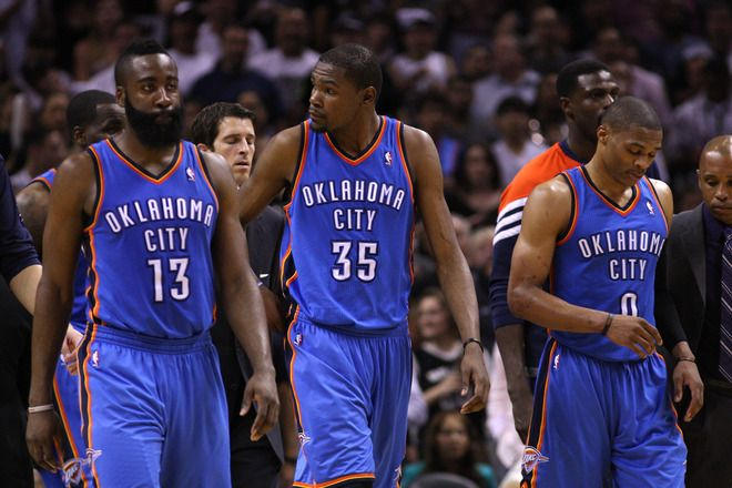the best attitude e1d61 f2188 James Harden #13, Kevin Durant #35 And Russell Westbrook #0 ...