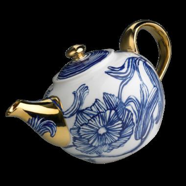 Anthropologie Jardin des Plantes teapot, blue line drawn floral design on white body, with gilded spout, handle & knob, c. 2013, stoneware