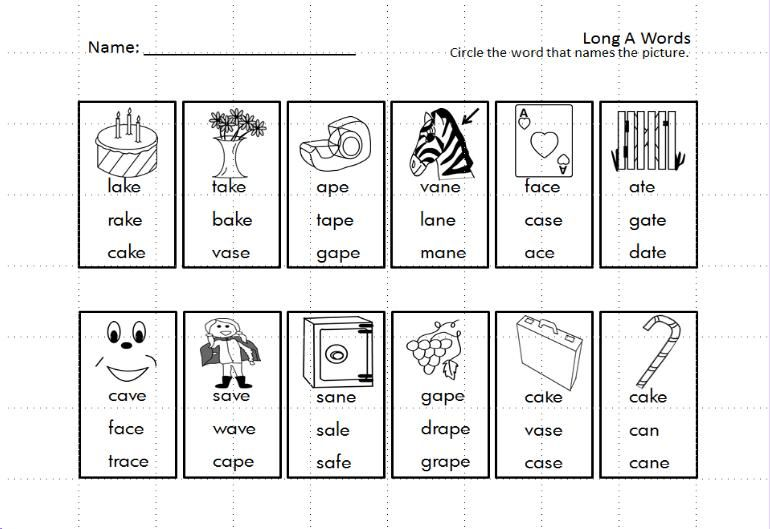 Kindergarten Long Vowels Silent E Write and Read Common Core Based ...