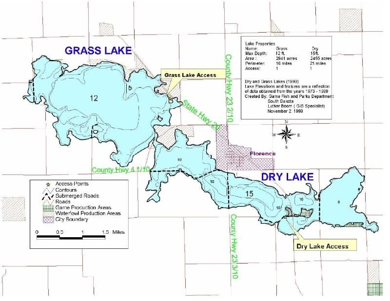 map of dry lake south dakota  Lake Information for Dry and Grass