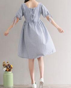 Details about Women loose fit over plus size retro plaid checker pocket dress bow ribbon tunic