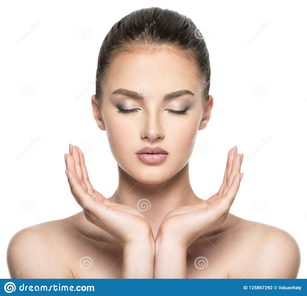 Front Portrait Of Beautiful Face With Beautiful Closed Eyes Stock Photo Image Of Caucasian Hands 125867292 Beautiful Face Face Beautiful Women Faces