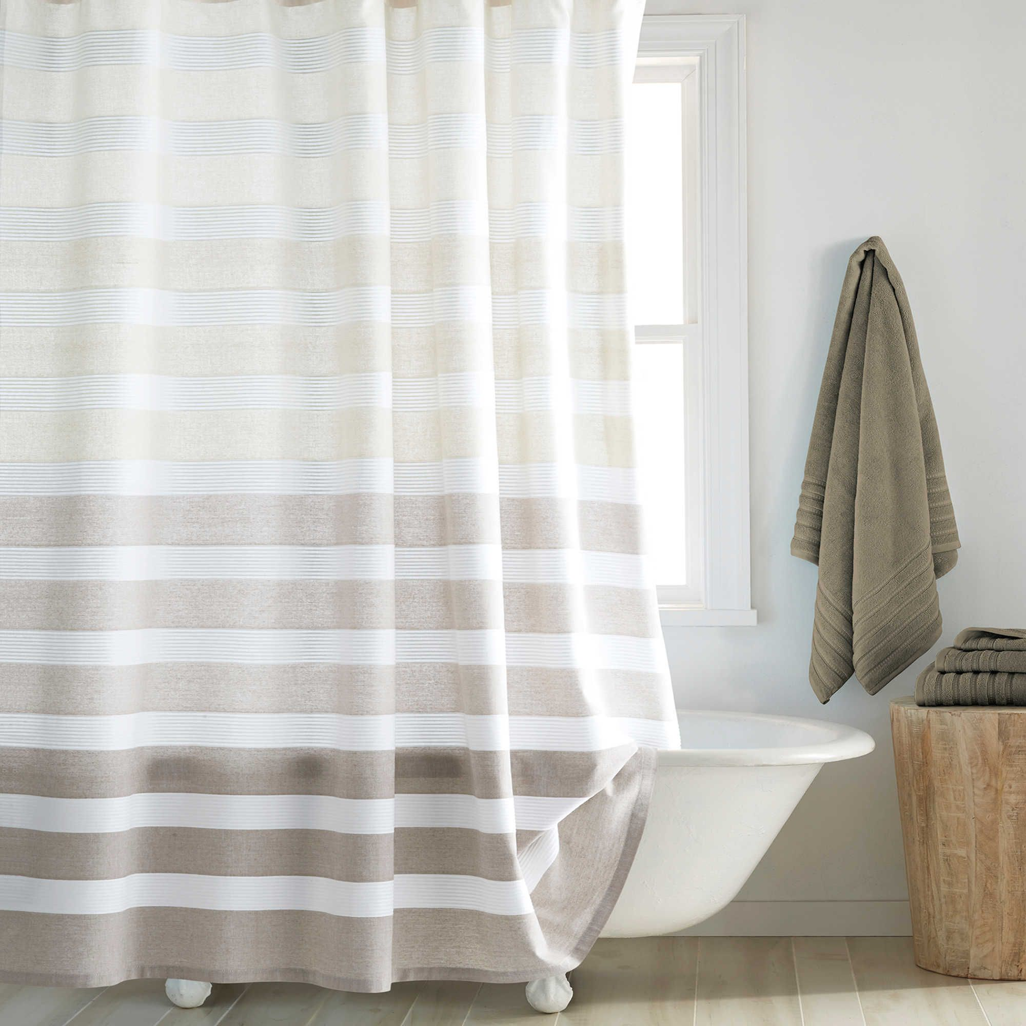 Dkny Highline 54 Inch X 78 Inch Stripe Stall Shower Curtain In Taupe Striped Shower Curtains Shabby Chic Bathroom Long Shower Curtains