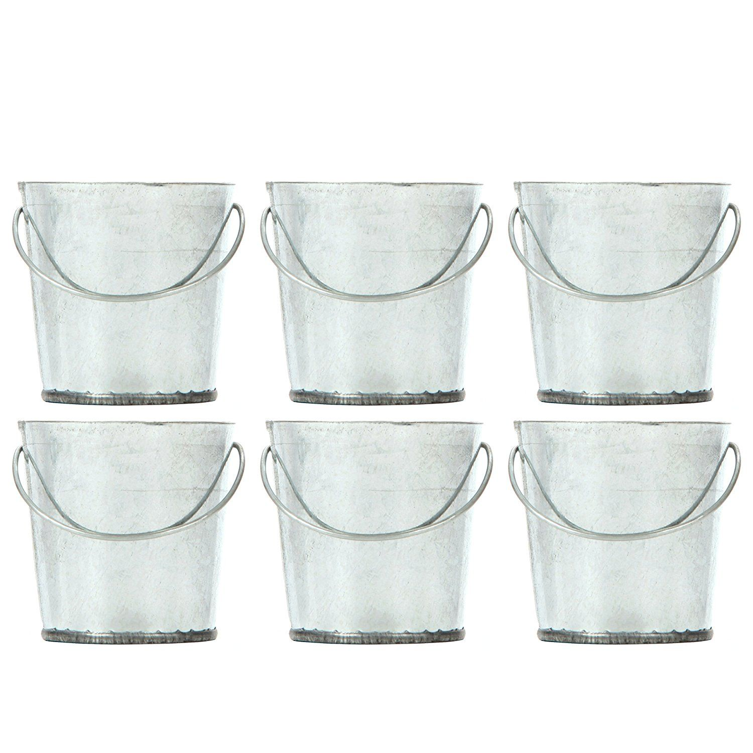 Amazon.com: Hosley\'s Set of 6 Mini Galvanized Buckets - 2.25\