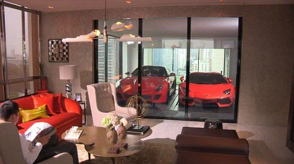 Cool Gadgets For Small Spaces   Cool Garage integrated into the LivingParked to Perfection  Stunning Car Garage Designs   Living rooms  . Garage Living Room. Home Design Ideas