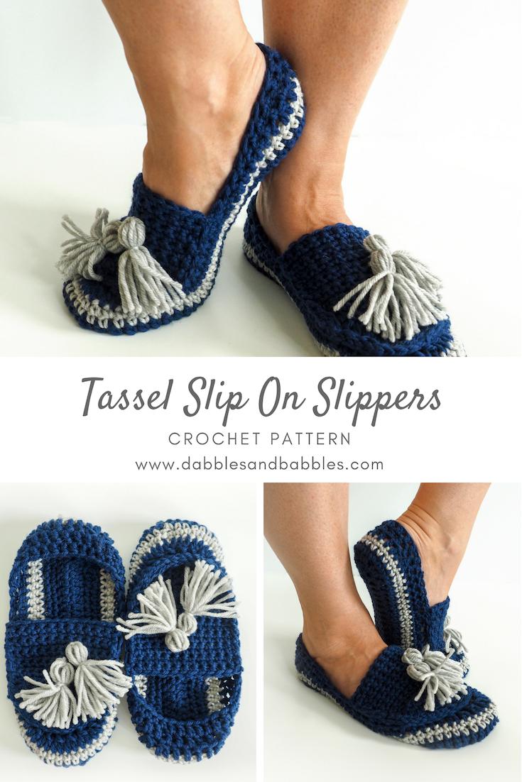 Tassel Slip-on Slippers Crochet Pattern   crochet   Pinterest ...