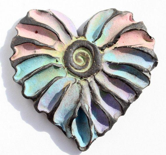 Handmade Stoneware Heart Cabochon by LisaPetersArt on Etsy
