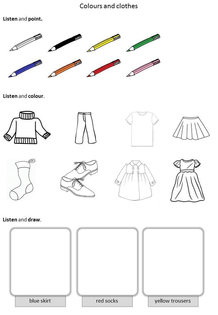 Coloriage Magique Anglais Vetements.Vetements Couleurs Anglais Colours Et Clothes