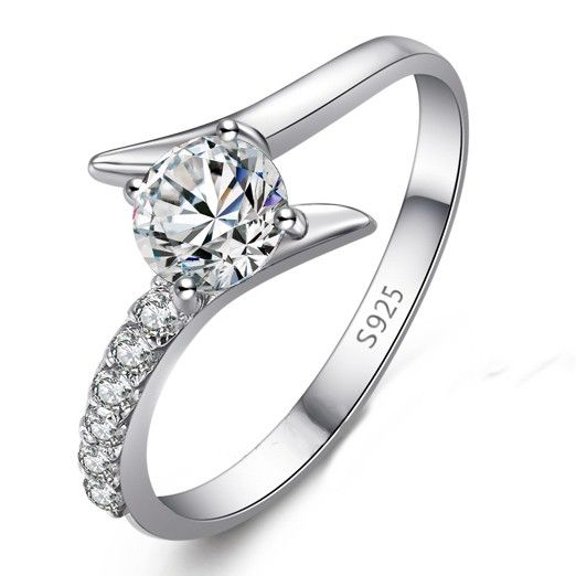 engraved sterling silver unique engagement ring for women personalized couples gifts - Silver Wedding Rings For Her