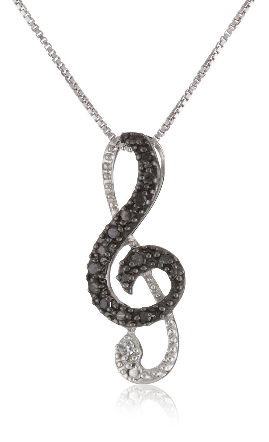 "Sterling Silver Black Diamond Music Note Fashion Pendant Necklace (.11 cttw), 18"" by Amazon Curated Collection on HeartThis"