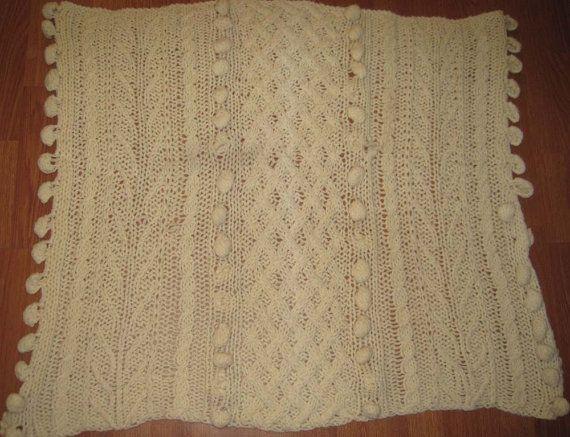 Creampuff Ivory Crochet Afghan Lap Blanket - FREE SHIPPING via Etsy