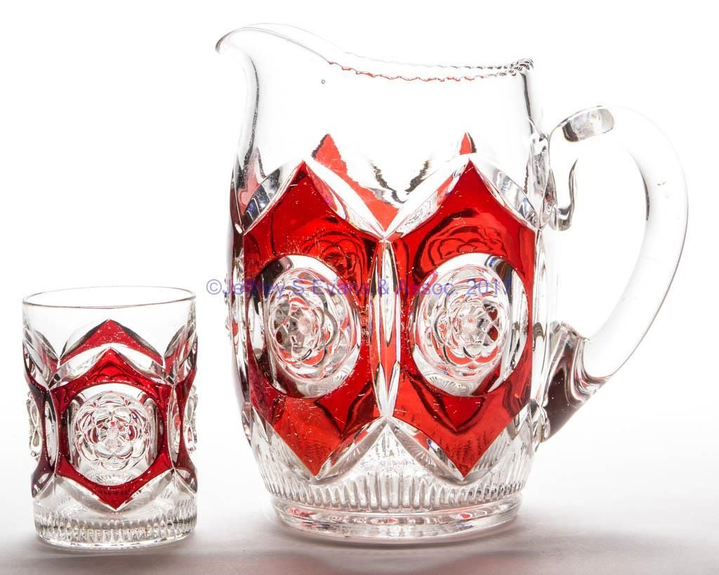 Ruby Stained Water Pitcher And Tumbler Colorless Pitcher With An Applied Handle Tumbler With A Factory Polished Table Ring Glass Collection Rosettes Duncan