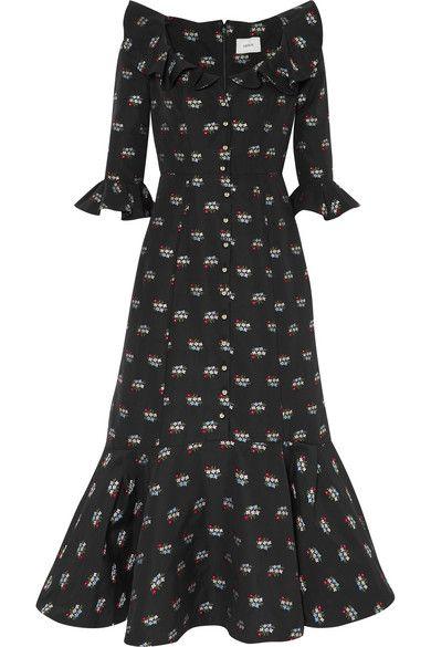 fe23110b Erdem - Opaline Ruffled Embroidered Cotton-blend Midi Dress - Black ...