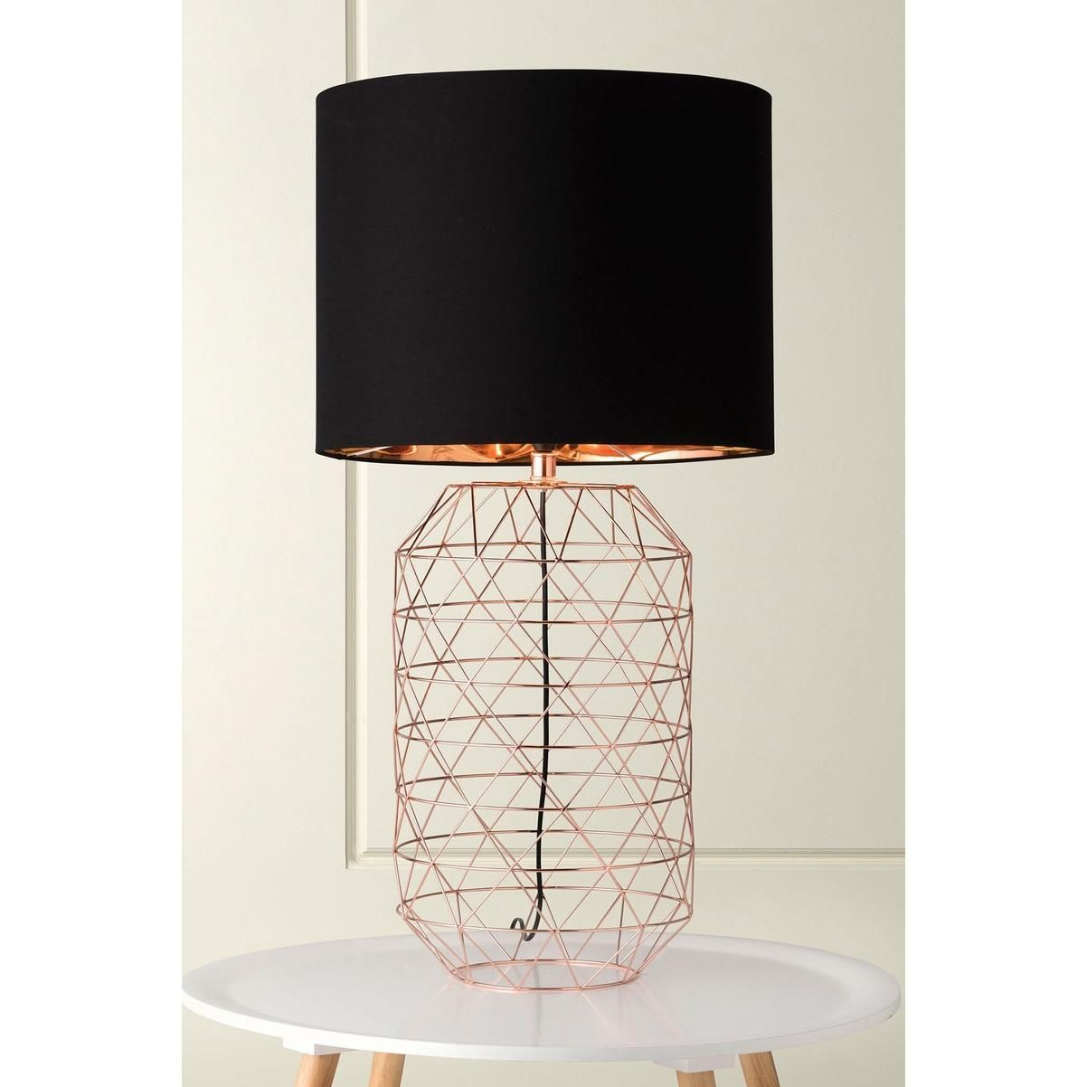 Rose copper geometric wire base a cylinder shade in c1 black with rose copper geometric wire base a cylinder shade in c1 black with copper foil lining greentooth Images
