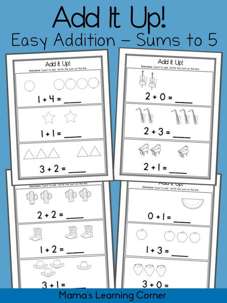 Add It Up! Addition Worksheets – Sums to 5 | Mathe, Kind und Zahlen