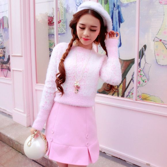 Candy Rain White/Pink Speckle Fluffy Sweater | Pretty Pink ...