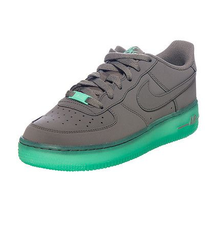 the latest 0b5d9 bf623 NIKE Air Force One Low top sneaker Glow in the dark soles with contrast  stitching Leather upper Lace up closure Preforated toe box Padded tongue  with logo