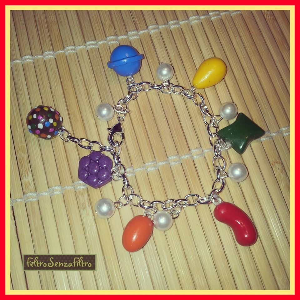 #Polymerclay bracelet for #CandyCrush addicted! Bracciale in #fimo per gli amanti di Candy Crush!