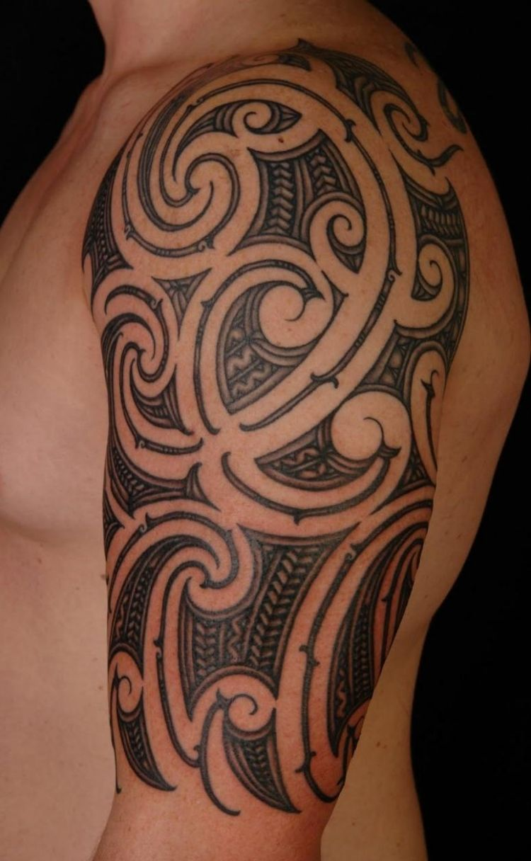 Hawaiian Tribal Tattoos Half Sleeve