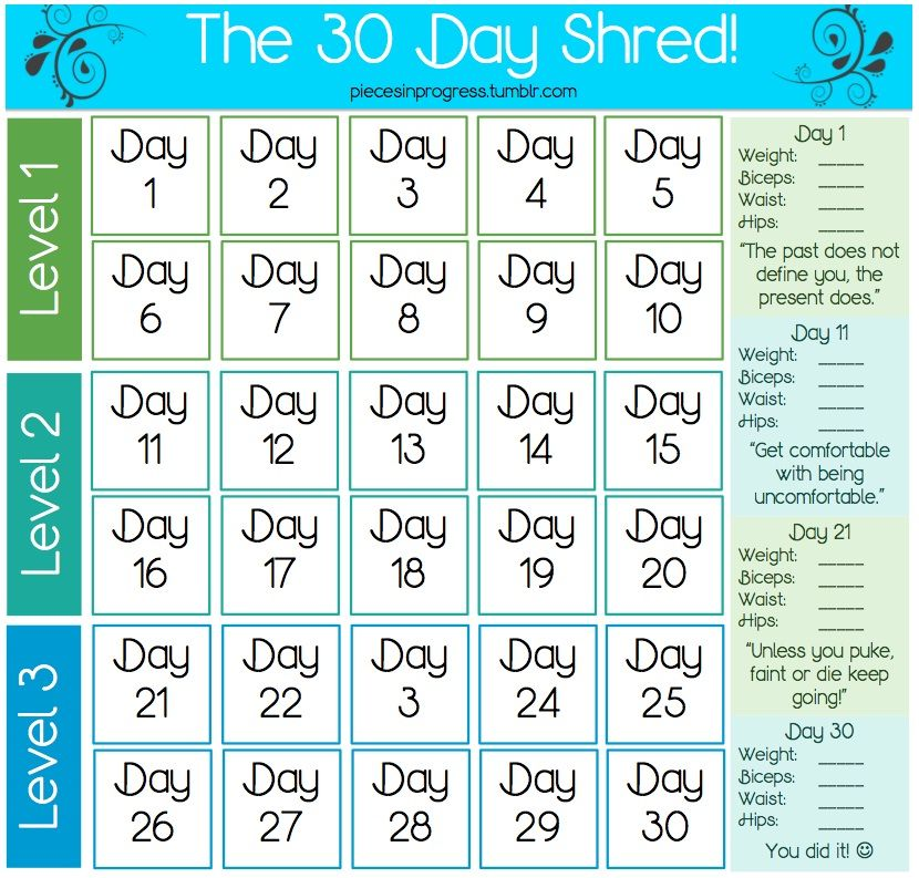 Jillian Micheals 30 Day Shred Calendar Walmart Has The Dvd For Under 10 And Its A Great Workout