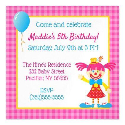 Colorful circus clown magnetic birthday invitation circus clown filmwisefo Choice Image