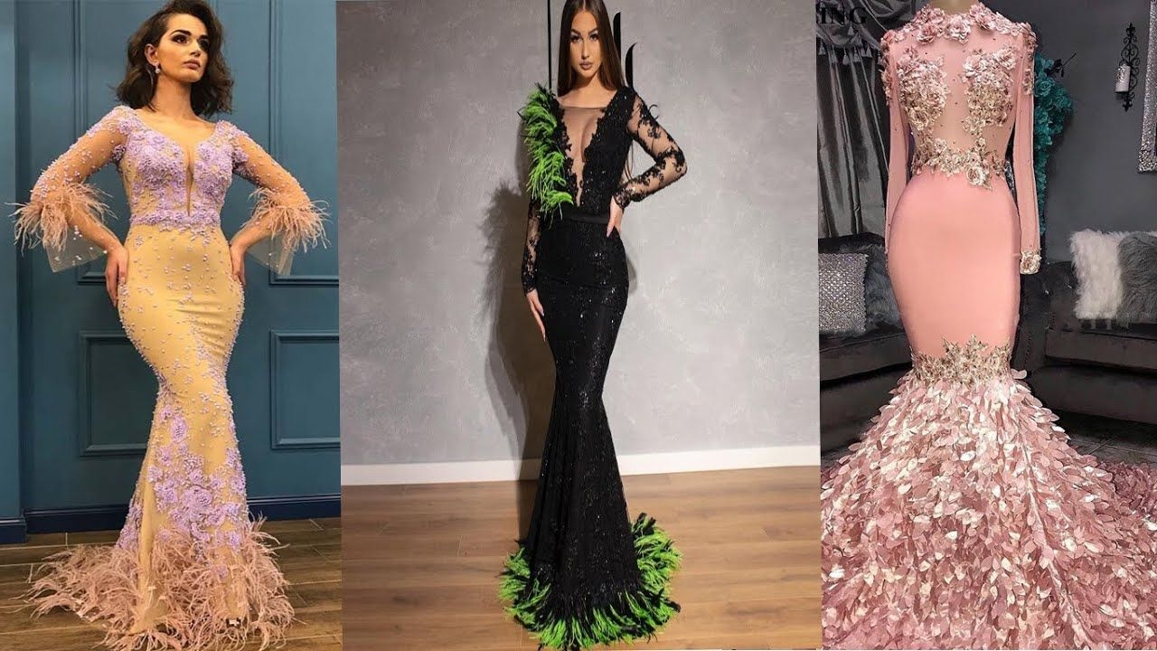 موديلات فساتين سهرة مزينة بالريش فساتين سهره فخمه روووعة فساتين سهرة Backless Dress Formal Mermaid Formal Dress Dresses