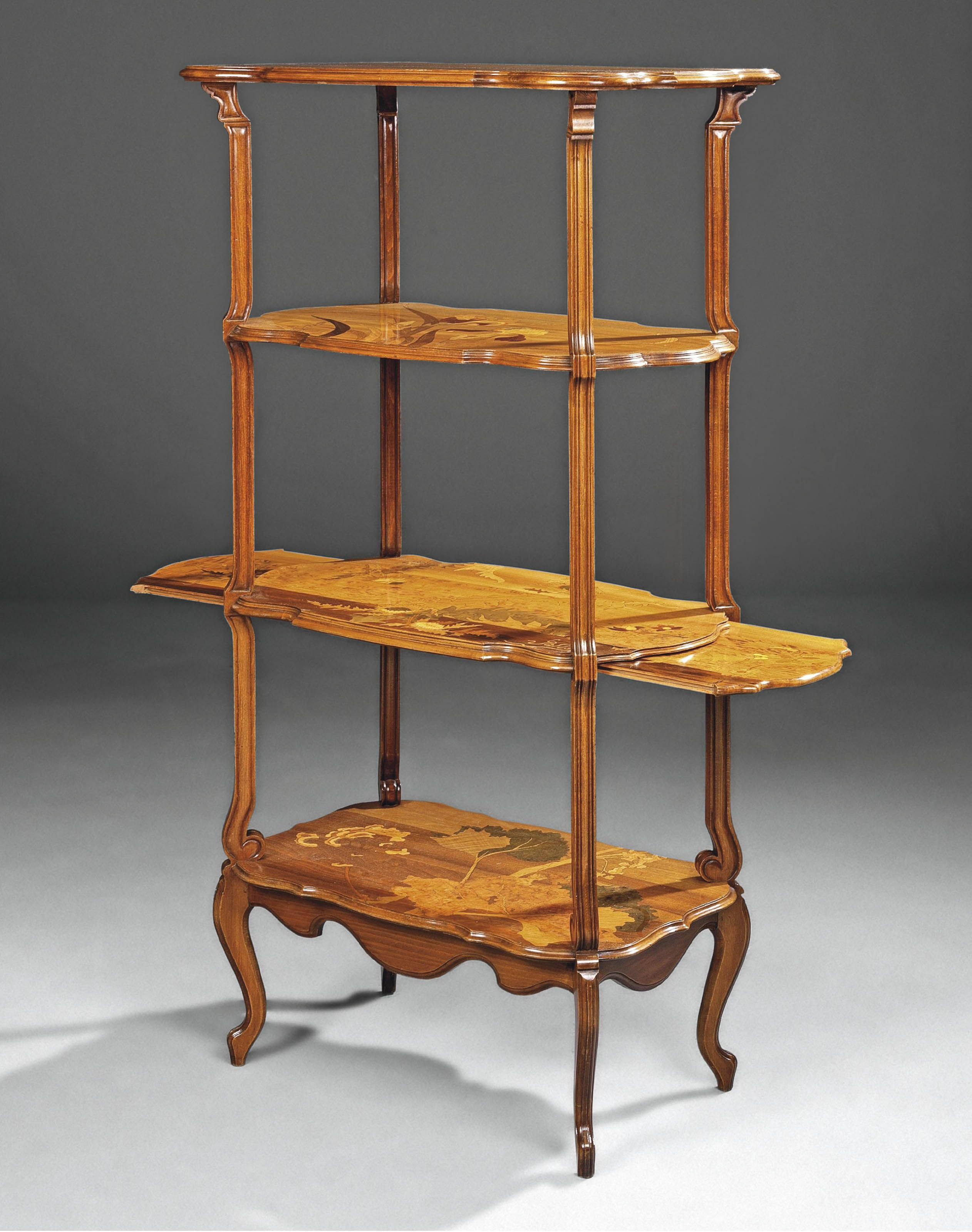 Emile Galle 1864 1904 Four Tier Etagere Circa 1900 Stained
