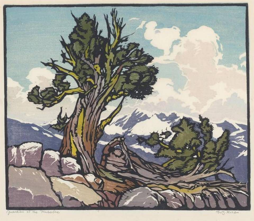 Arts and crafts prints - The Block Print Guardian Of The Timberline Is The Work Of William S Arts And Crafts