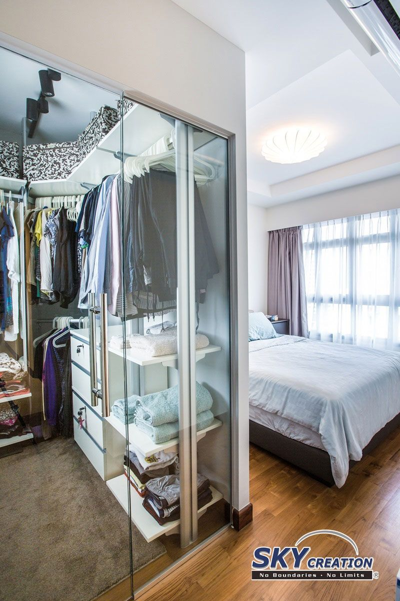 Anchorvale road contemporary hdb interior design master bedroom with walk in wardrobe walk Master bedroom wardrobe design idea