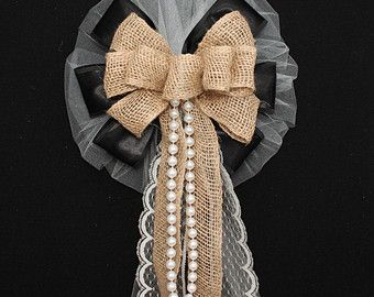 Black And Burlap Lace Pearls Rustic Wedding Bows Pew Church Aisle Decorations