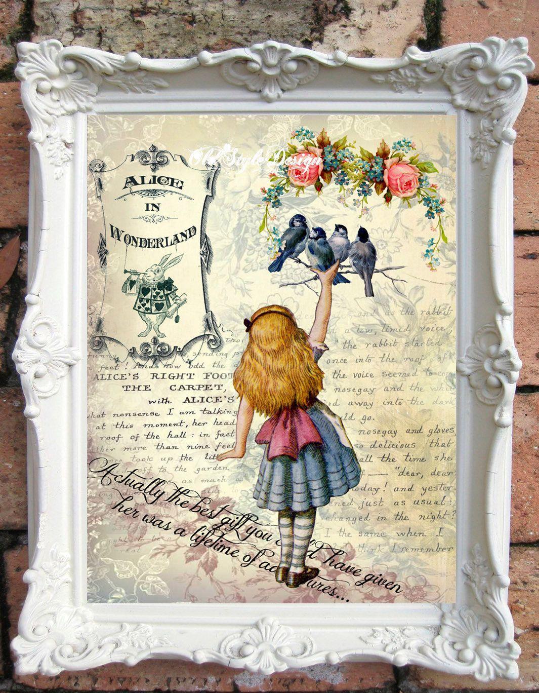 ALICE in Wonderland Art Print. Alice in by OldStyleDesign on Etsy