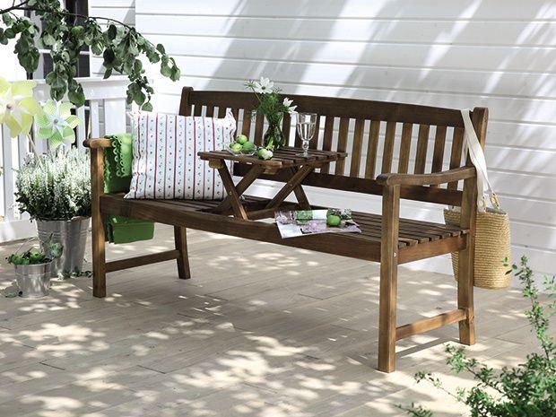 Sun Fun Elements Diana Holzbank Mit Tisch Akazienholz Integrierter Klapptisch Holzbank Mit Tisch Aussenmobel Holzbank