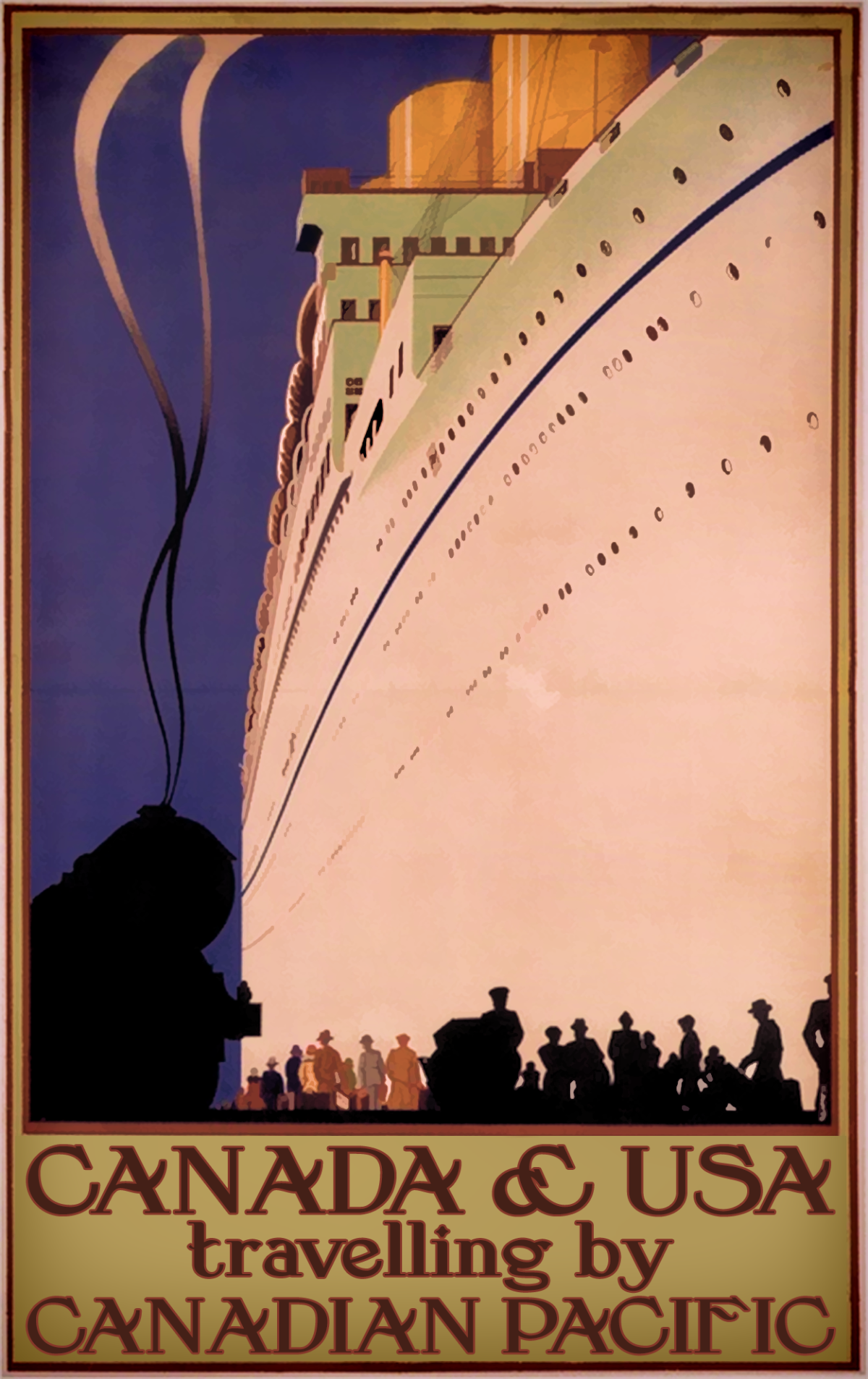 Canada & USA travelling by Canadian Pacific poster