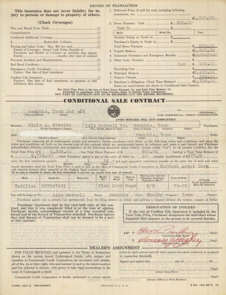 the conditional sale contract from the 1955 Cadillac Fleetwood - contract for car sale