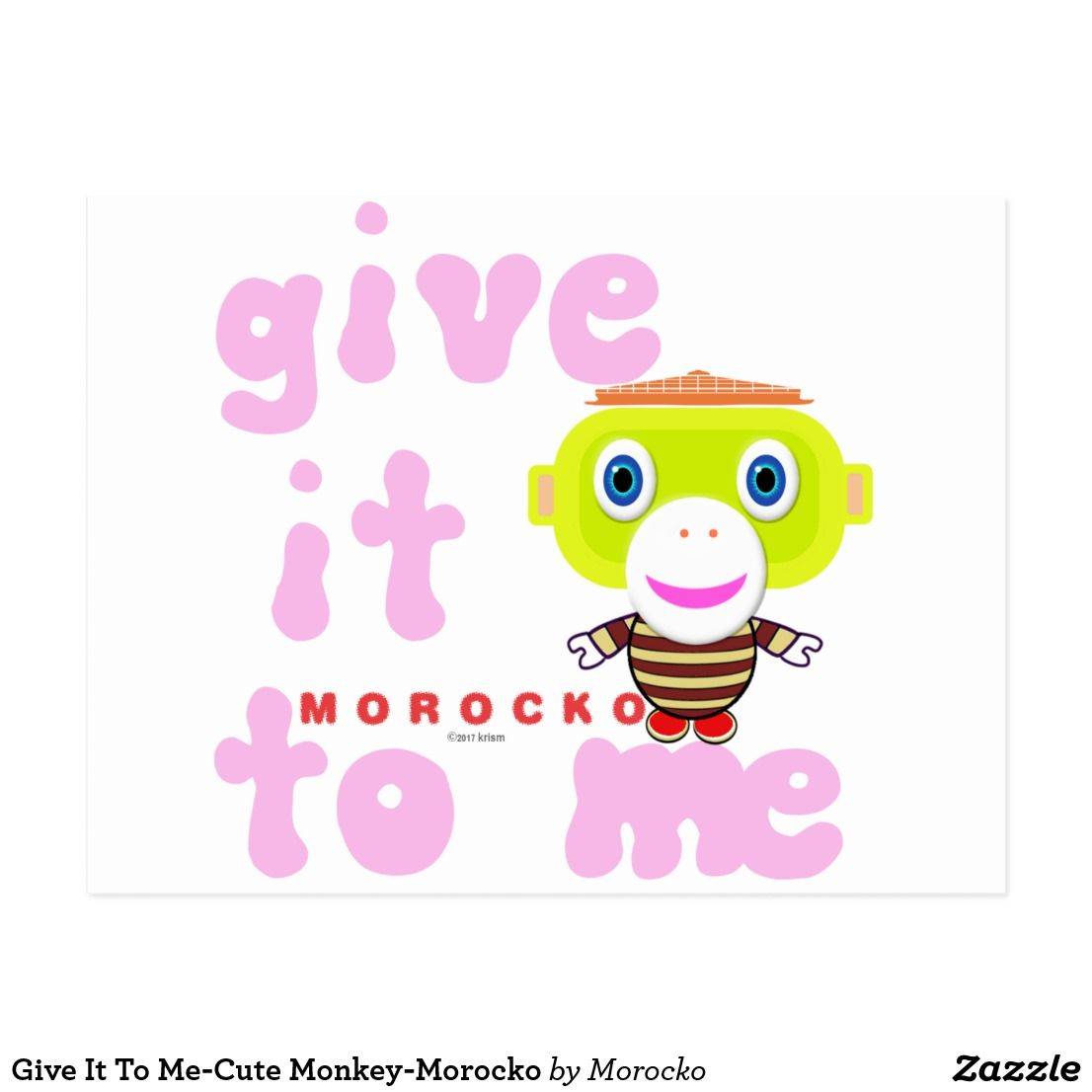 Give It To Me Cute Monkey Morocko Card Cards Greeting Greetings