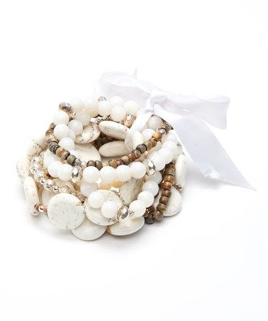 Take a look at this Cream & Wood Beaded Bracelet by Ingenious on #zulily today!