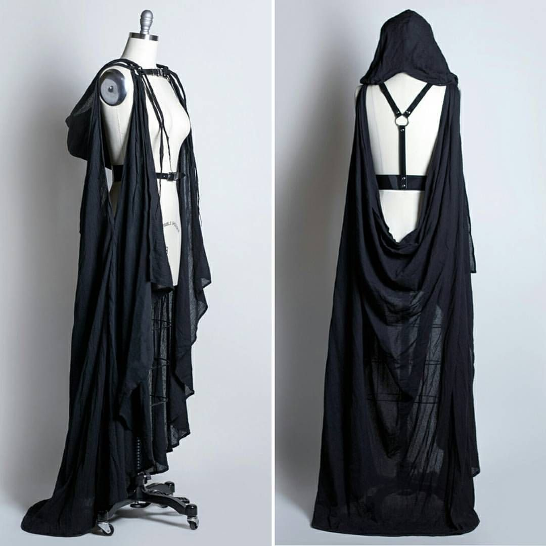 "Hooded Cape Clothes Design Fashion: Apaticoshop: "" Draped Cape Harness With Hood ♥🐱🌙💀 #harness"