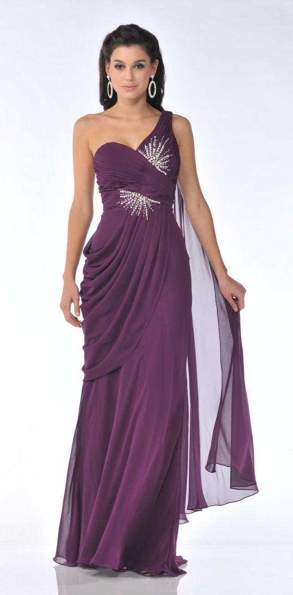 Eggplant Greek One Shoulder Dress Chiffon Long Formal Grecian Gown ...