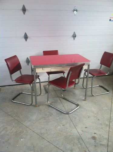 50u0027s Retro Chrome Table That Extends W Drawer 4 Red Chairs Kitchen Dining  Set   EBay