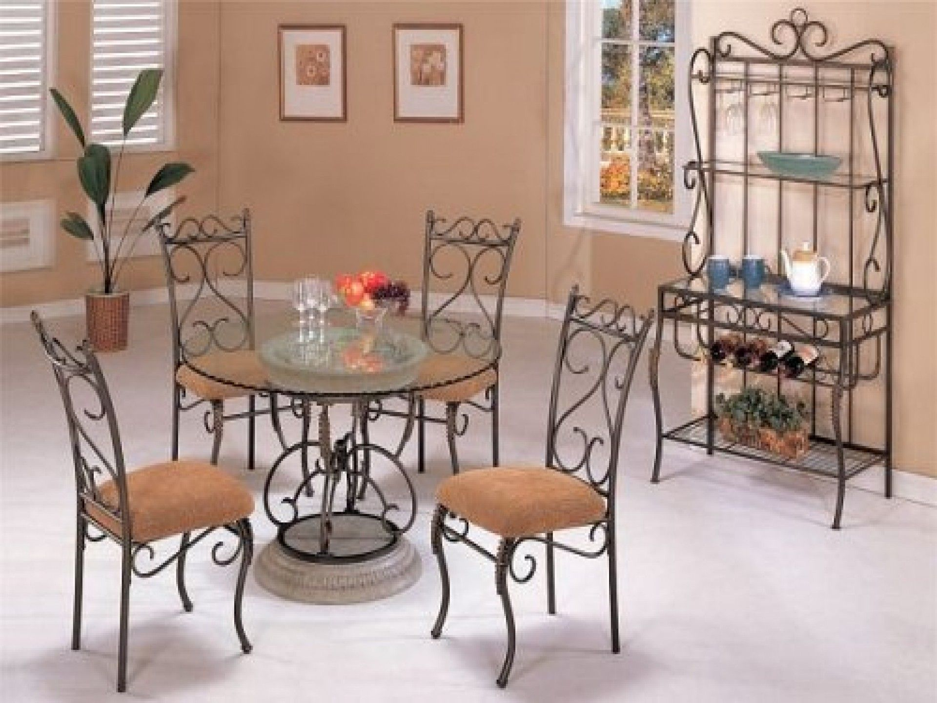 F Round Glass Top Dining Table With Oil Rubber Bronze Wrought Iron