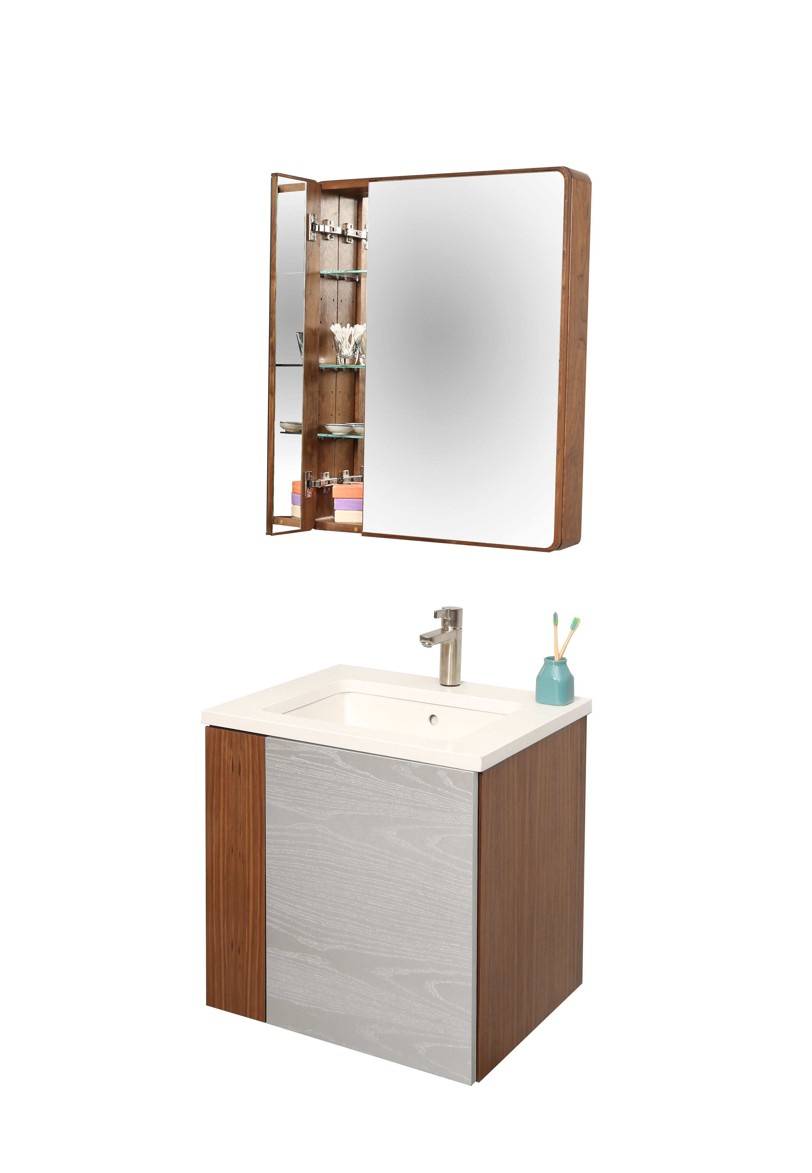 Wall*nut Medicine Cabinet And S Wall*nut Vanity S With #Duravit Sink