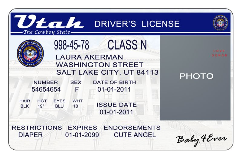 This Is Utah Usa State Drivers License Psd Photoshop Template