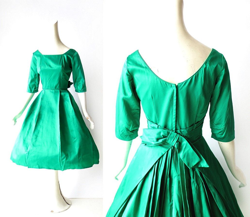 1950s Satin Dress / Emerald Green Dress / 50s Party Dress / Holiday ...