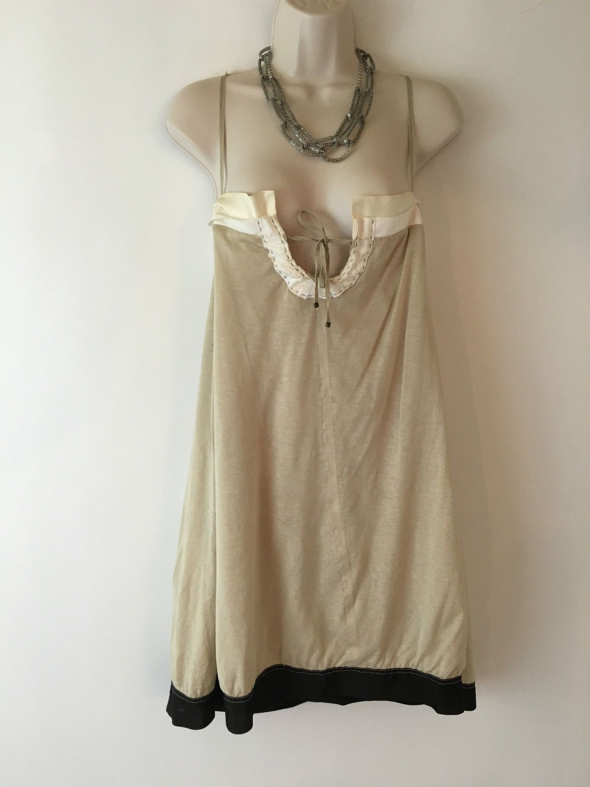 Philosophy Di Alberta FERRETTI Made Italy Beige Shift Casual Boho Summer Dress S | eBay