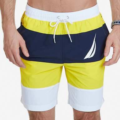 2a66dec0098c8 The Nautica Men's Summer 2017 Collection featuring The Quick Dry Color Block  J Class Swim Trunk in Vibrant Yellow